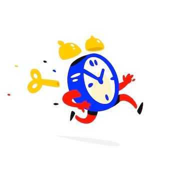 Cartoon character running alarm clock