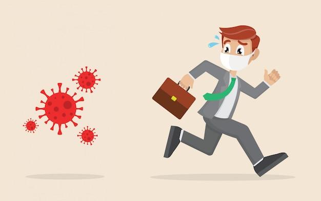 Мультипликационный персонаж, бегущий бизнесмен в панике убегает от вируса. коронавирусный кризис, ковид-19