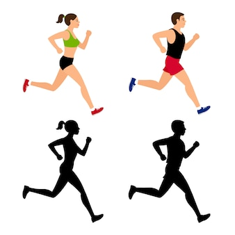 Cartoon character running people