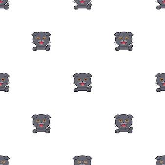 Мультипликационный персонаж шотландской вислоухой кошки бесшовный фон фон для дизайна.
