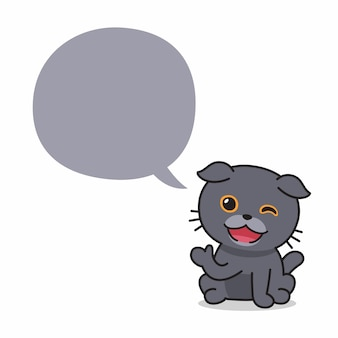 デザインのための吹き出し付きの漫画のキャラクタースコティッシュフォールド猫。