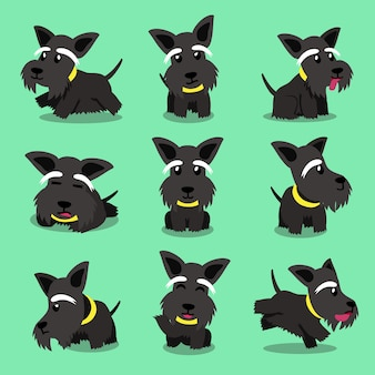Cartoon character scottish terrier dog poses