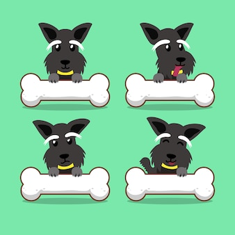 Cartoon character scottish terrier dog with big bones