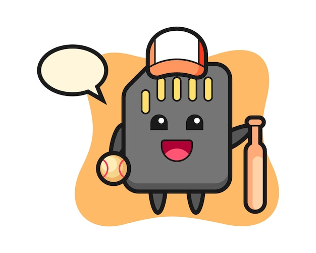 Cartoon character of sd card as a baseball player, cute style design for t shirt