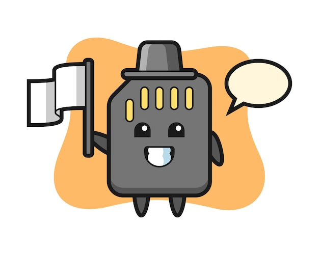 Cartoon character of sd card holding a flag, cute style design for t shirt