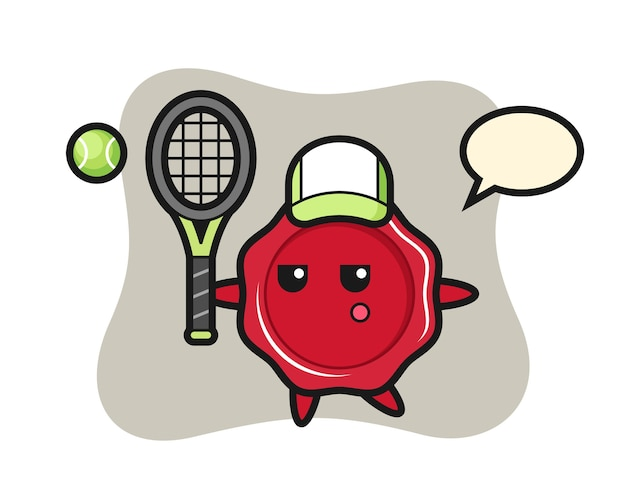 Cartoon character of sealing wax as a tennis player