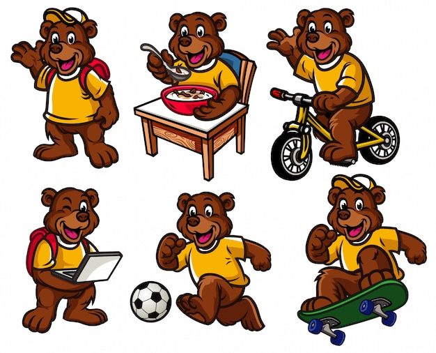 Cartoon character set of cute little bear