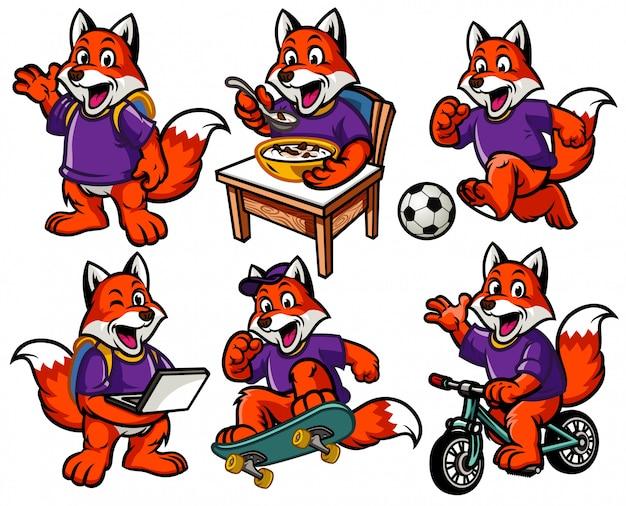 Cartoon character set of cute little fox