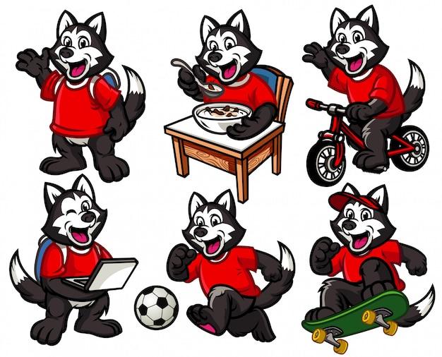Cartoon character set of cute little husky dog