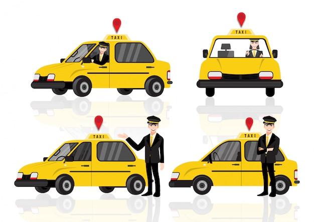 그의 차 근처 웃는 젊은 택시 운전사로 설정하는 만화 캐릭터 택시 서비스입니다. 플랫 스타일의 일러스트