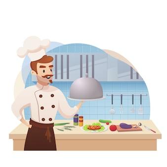 준비 접시를 들고 만화 캐릭터 쉐프 쿡