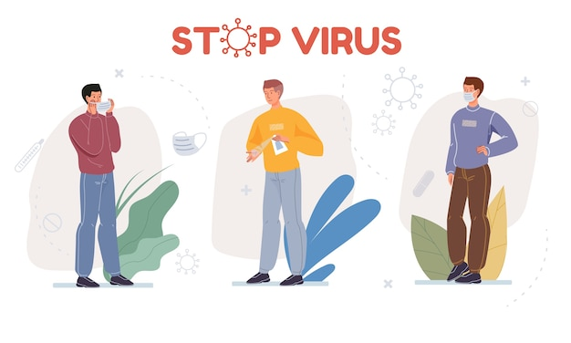 Cartoon  character shows protective measures against coronavirus prevention and personal hygiene concept