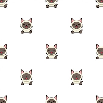 Cartoon character siamese cat seamless pattern background