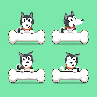 Cartoon character siberian husky dog with big bones