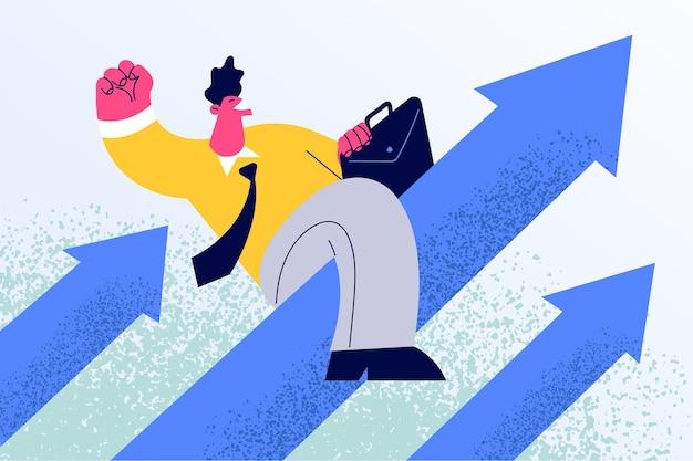 Мультипликационный персонаж сидит на стрелке вверх, двигаясь вверх по лестнице достижения целей