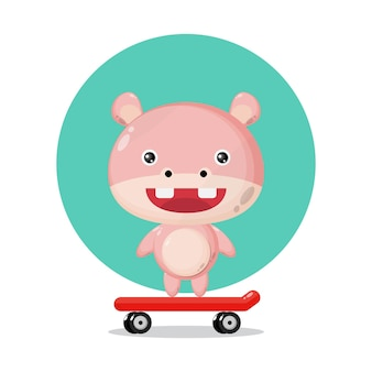 Cartoon character on skateboard