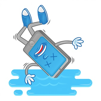 Cartoon character smartphone fall down in water.