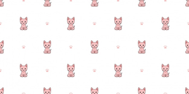Cartoon character sphynx cat seamless pattern background