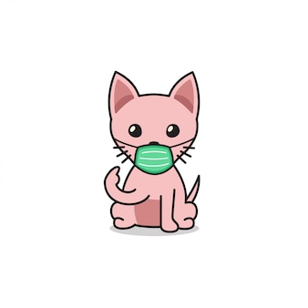 Cartoon character sphynx cat wearing protective face mask
