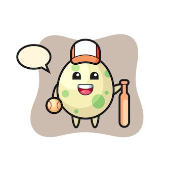 Cartoon character of spotted egg as a baseball player, cute style design for t shirt, sticker, logo element