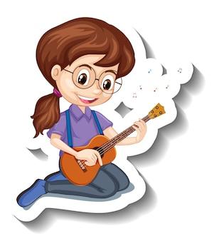 Cartoon character sticker girl playing ukulele musical instrument