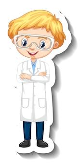 Наклейка с персонажем мультфильма с мальчиком в научном платье