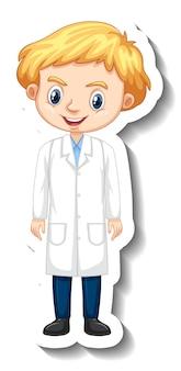 과학 가운에 소년과 만화 캐릭터 스티커
