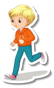 白い背景でジョギング少年と漫画のキャラクターステッカー