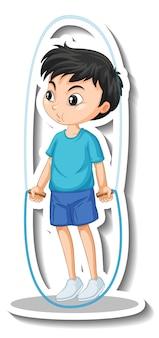 縄跳びの少年と漫画のキャラクターステッカー