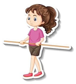 나무 막대기를 들고 소녀와 만화 캐릭터 스티커