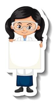 空のバナーを保持している科学のガウンの女の子と漫画のキャラクターステッカー