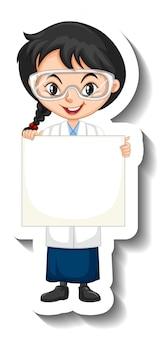 빈 배너를 들고 과학 가운에 여자와 만화 캐릭터 스티커