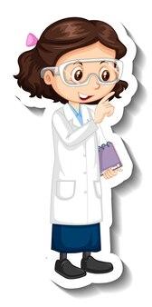 Наклейка с персонажем мультфильма с девушкой в научном платье