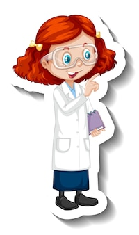 科学のガウンの女の子と漫画のキャラクターのステッカー 無料ベクター