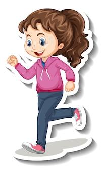 Наклейка мультипликационного персонажа с девушкой, бегущей трусцой на белом фоне