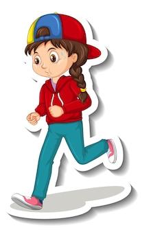 白い背景でジョギングの女の子と漫画のキャラクターステッカー