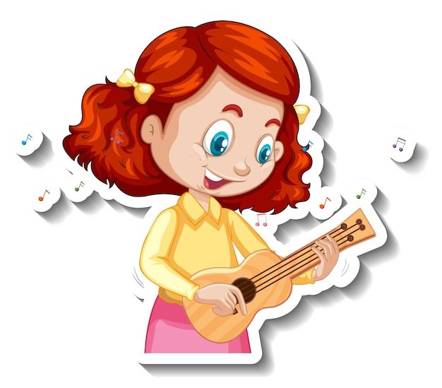 우쿨렐레를 연주하는 소녀와 함께 만화 캐릭터 스티커