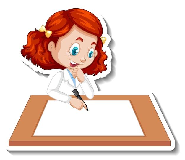 白紙に書いている女の子と漫画のキャラクターステッカー
