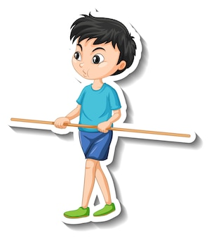 Cartoon character sticker with a boy holding wooden stick