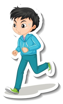 Cartoon character sticker with a boy jogging on white background