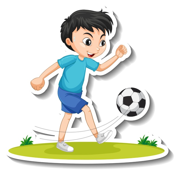 Cartoon character sticker with a boy playing football Premium Vector
