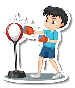 Cartoon character sticker with a boy punching