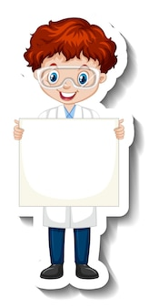 Cartoon character sticker with a boy in science gown holding empty banner
