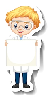 Adesivo personaggio dei cartoni animati con un ragazzo in abito da scienze che tiene in mano uno striscione vuoto