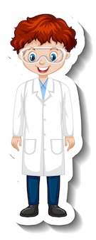 Cartoon character sticker with a boy in science gown