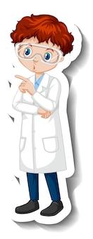 Adesivo personaggio dei cartoni animati con un ragazzo in abito scientifico