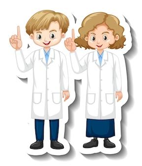 Наклейка с персонажем мультфильма с детьми в научном платье