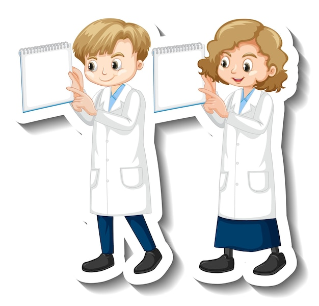 Cartoon character sticker with children in science gown