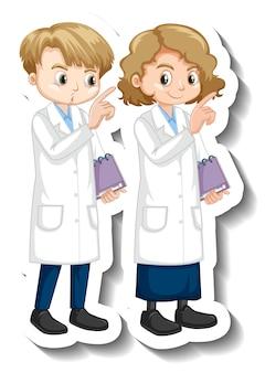 Adesivo personaggio dei cartoni animati con bambini in abito scientifico