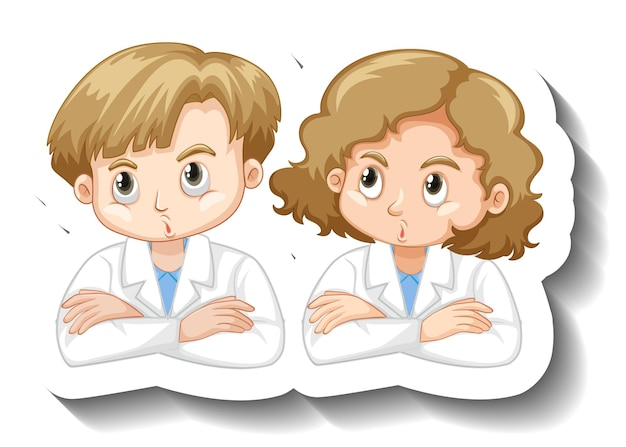 Cartoon character sticker with a couple kid in science gown